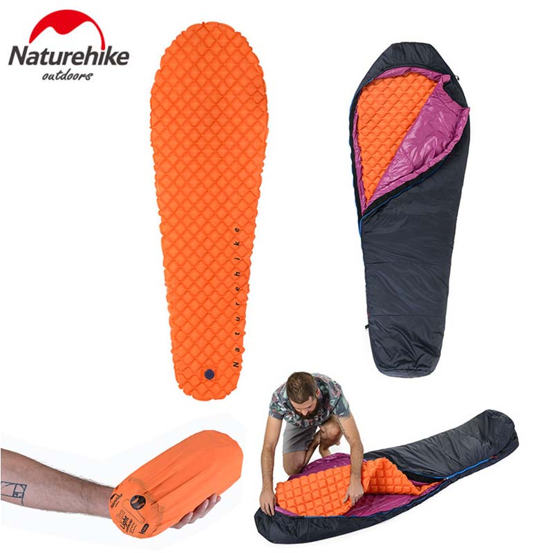 Naturehike Outdoor Camping Inflatable Tent Moisture-Proof Inflatable Mat With Pillow Mummy Lightweight Air Mattress Only 470g цены онлайн