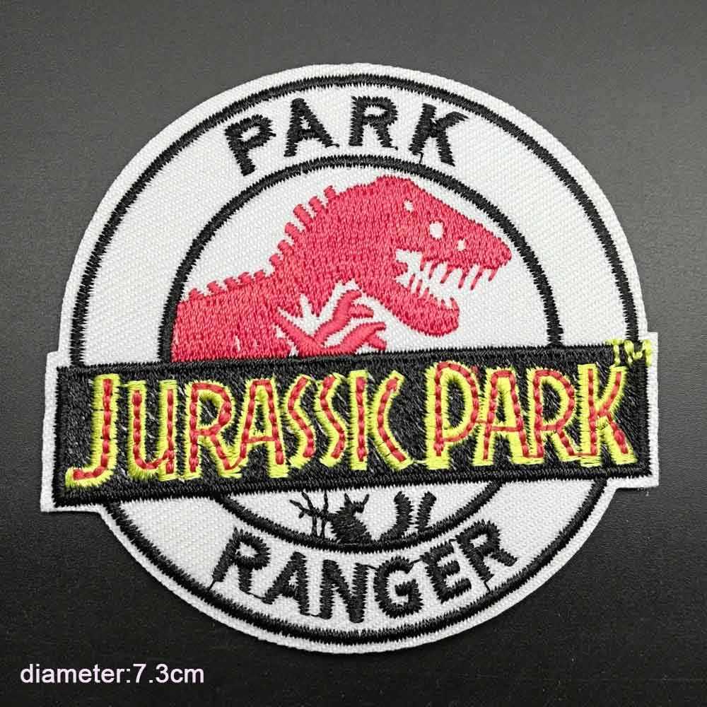 Dinosaur Jurassic Park Ricamato il Ferro Sui Vestiti Adesivi di Patch Per Abbigliamento Indumento Accessori di Abbigliamento