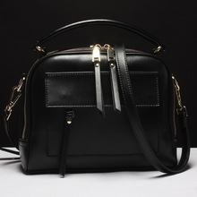 Women's new zipper leather handbag Korean style box leather large-capacity solid color small square package men s leather cross style square zipper handbag cowhide men s business package solid color large capacity briefcase
