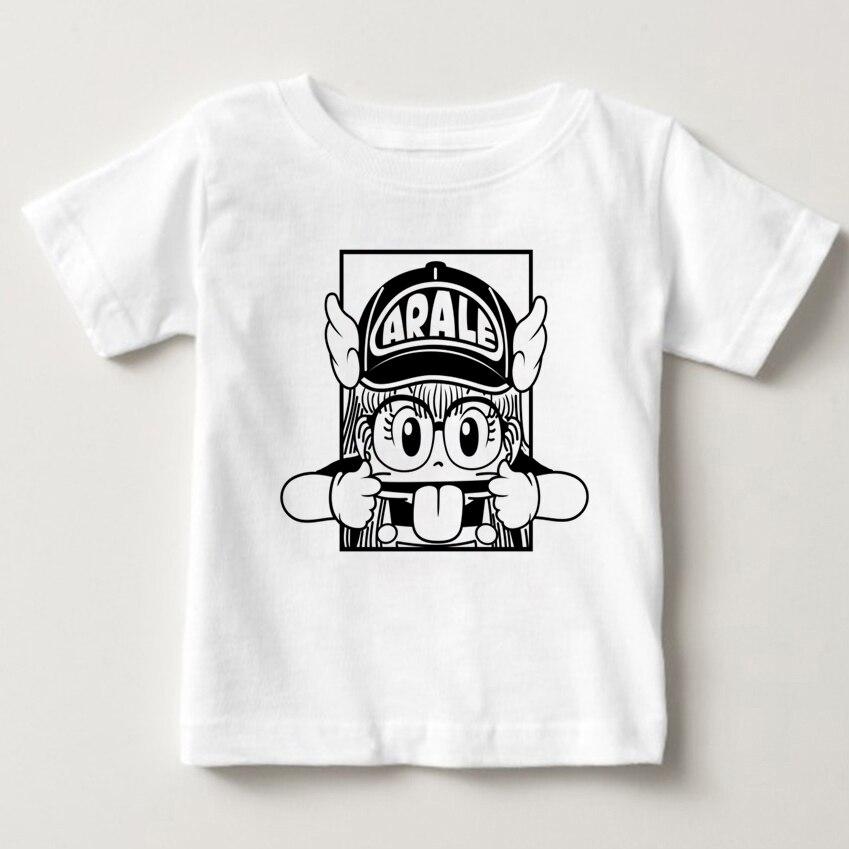 Dr. спад Летающий Arale для мальчиков и девочек мультфильм футболка модная Милая хлопковая футболка Летняя одежда для девочек хлопковая футбол...
