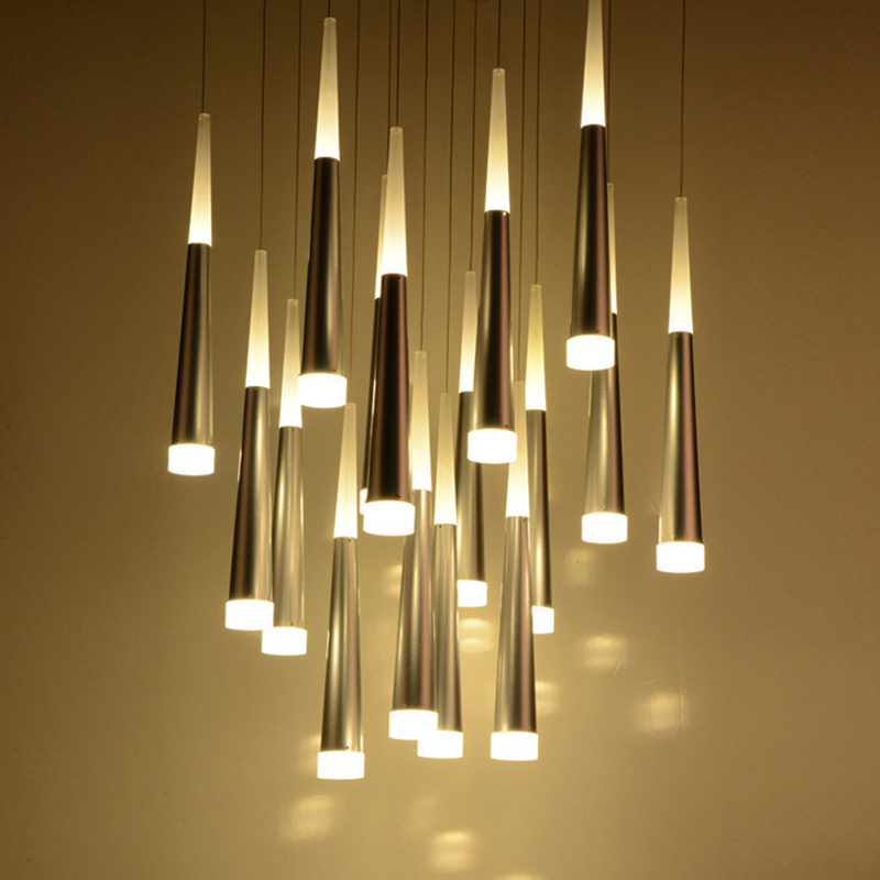 KINLAMS LED Conical Double Head Glow Meteor Shower Pendant Light Home Hang Lamp Dining Living Room Bar Cafe Droplight Fixture стоимость