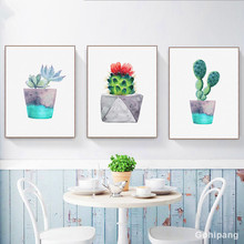 Gohipang Watercolor Green Plant Flowers Cactus Posters Succulent Nordic Style Garden Wall Art Pictures Living Room Decor Canvas