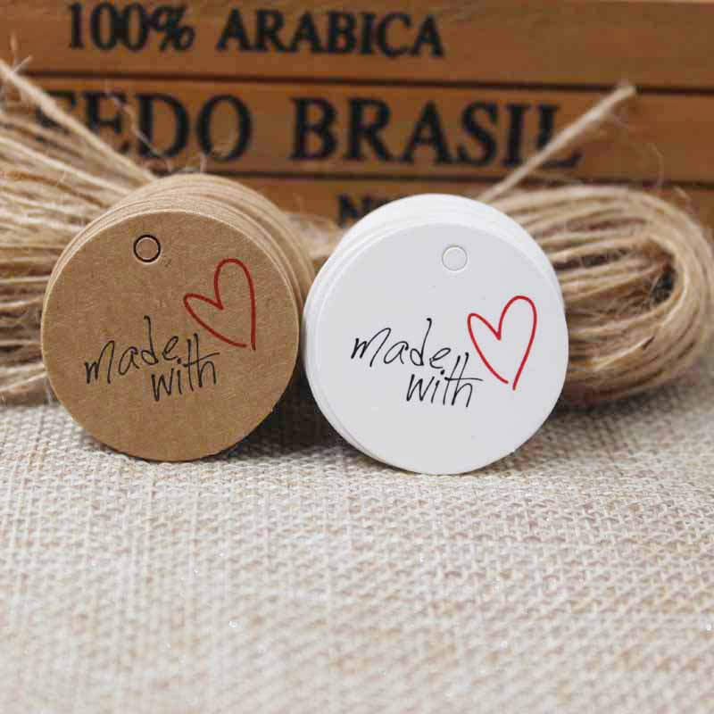 3cm Cute Thank You Label Tag ,Made With Love Paper Kraft/white Gift Hang Tag100pcs +100 String  For Gift Packing Decoration