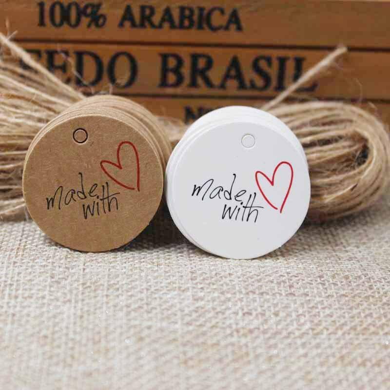 Бирка с надписью «thank you», 3 см, изготовленная из крафт-бумаги с надписью «love»/«white gift», 100 шт. + 100 лент для украшения подарочной упаковки