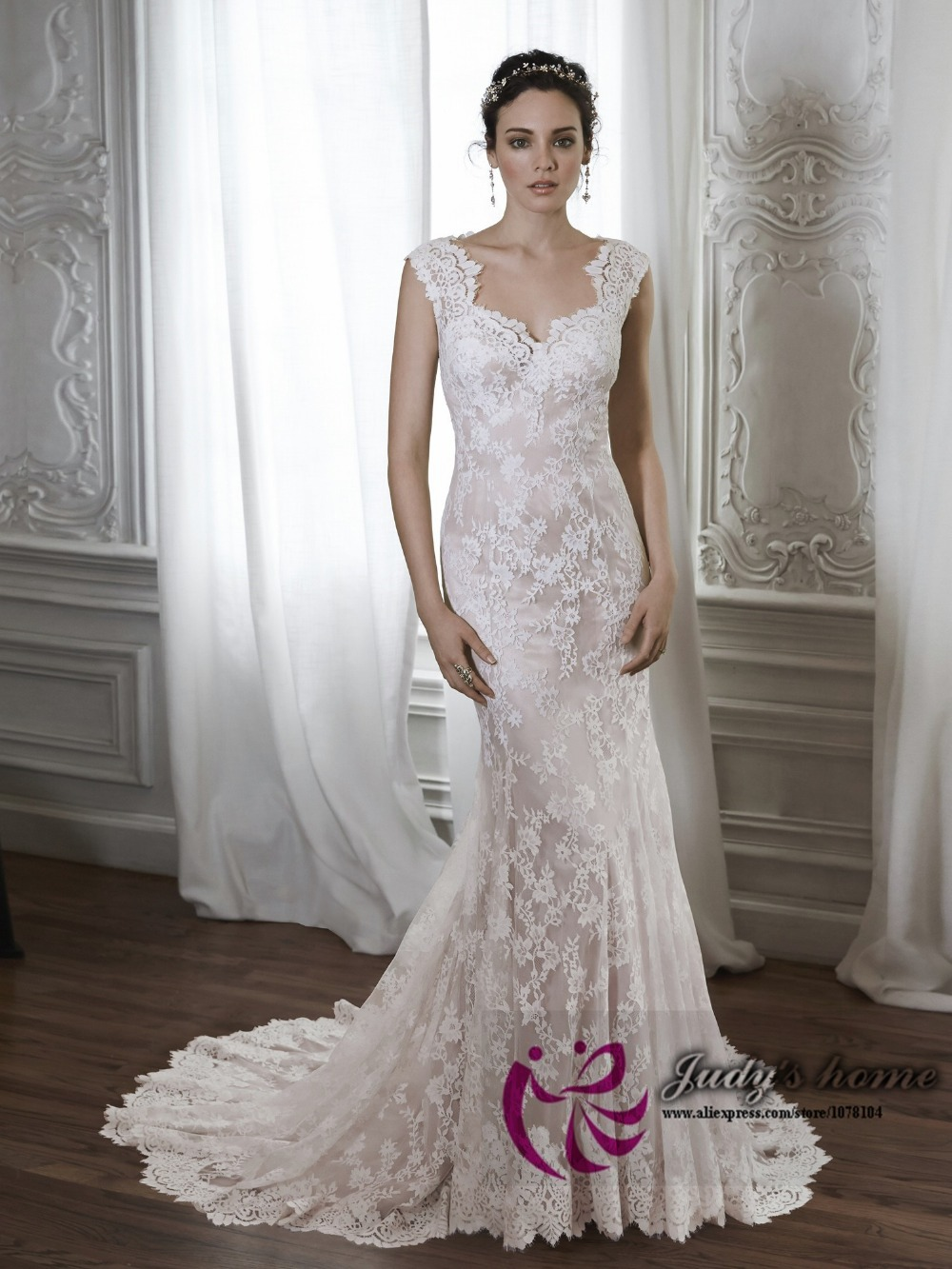 Elegant Sweetheart Neck Cap Sleeve Lace Mermaid Wedding Dress Australia White And Champagne Colored In Dresses From