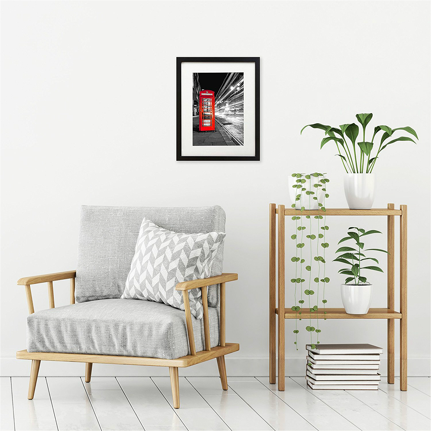 Black and White Landscape Poster London Landscape Canvas Wall Art Photo Frame Telephone Booth Red Picture Wall Decor Drop Ship