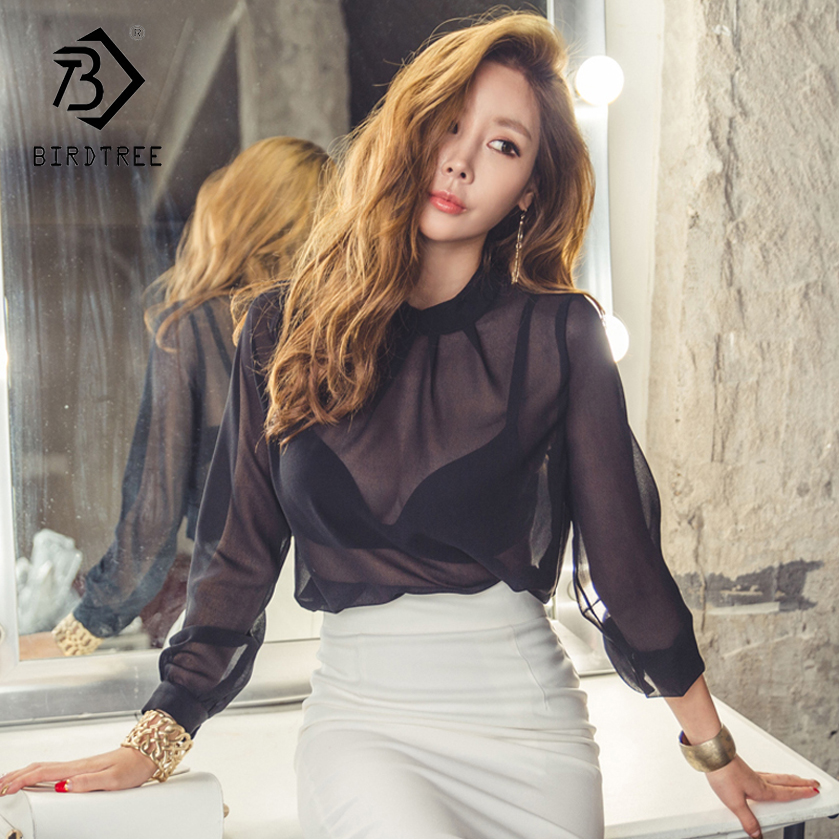Korean New 2018 Womens Top Women Clothes Office Lady Style Fashion Sexy Blouses Shirts Women Transparent Chiffon Hots T83107l
