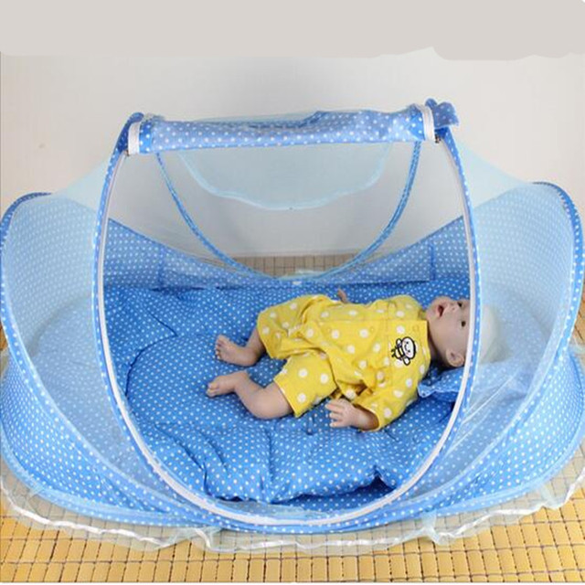 2017 4pcs/set Baby Infants Crib Netting Chinese Mosquito Insect Net Baby Safe Bedding Netting Baby Cushion Mattress with Pillow