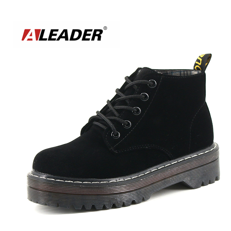 ФОТО Aleader New High Increasing Women Martin Boots Sales Ankle Boots For Women Suede Leather Casual Dress Shoes Flats Women Booties