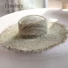 2019 New fashion women Sun hat Breathable straw Visor hats casual summer wide brim beach Unisex Jazz outdoor
