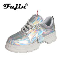 Fujin Brand 2019 New Women Sneakers Spring Popular Shoes for Ladies Bright Leather Reflective 3 Color Fashion Female Flats