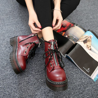 Fashion Zipper front Shoes Woman High Heel Platform PU Leather Boots Lace up Boots Girls Motorcycle Botas mujer