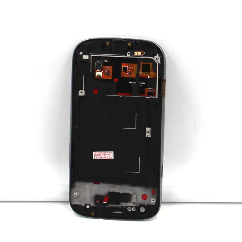 متوافق لسامسونج غالاكسي S3 i9300 LCD محول الأرقام بشاشة تعمل بلمس لوحة الزجاج S3 جهاز مراقبة بشاشة إل سي دي الجمعية الإطار