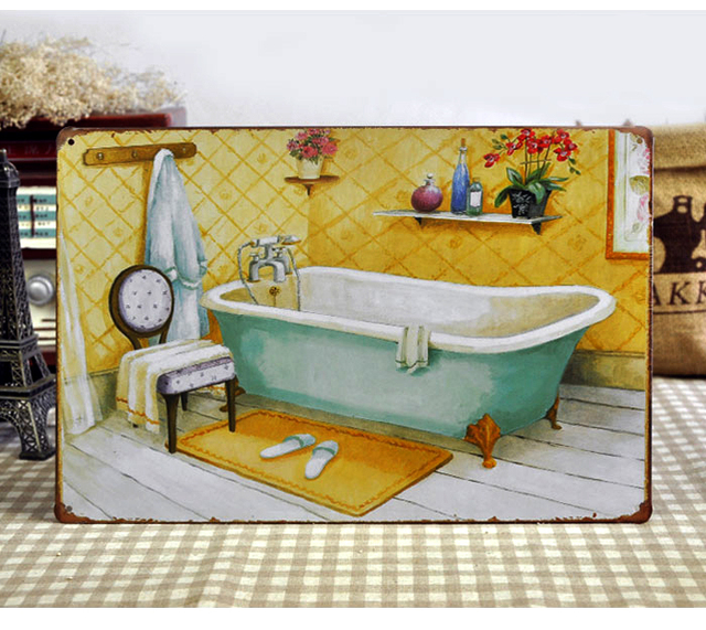 CARTOON Bathtub Metal tin sign Vintage Painting Retro Iron crafts ...