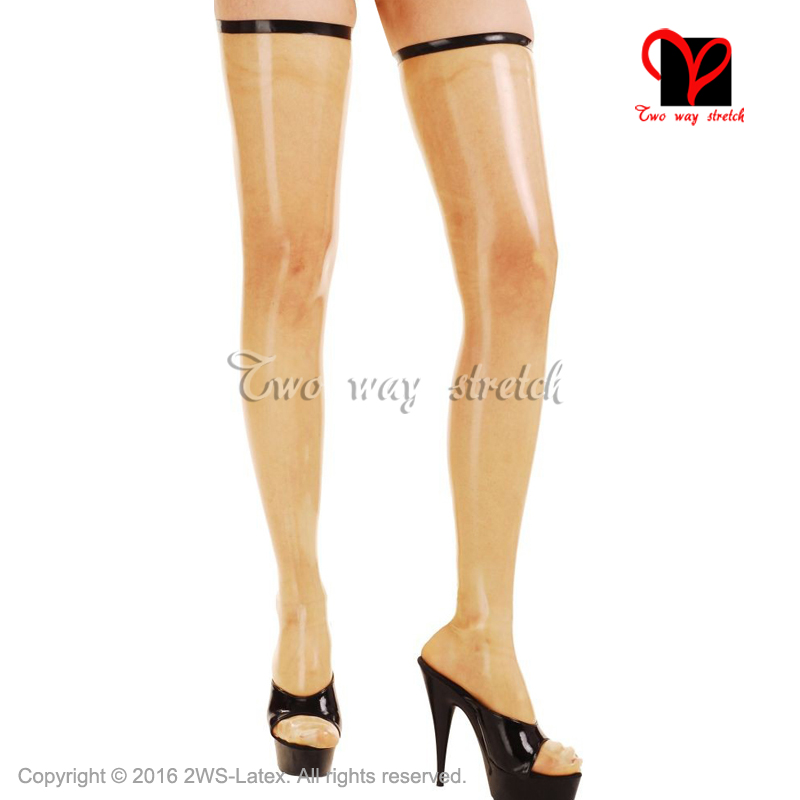 Sexy Long Latex Thigh High Stockings With Black Trims On Top And Zipper Back Rubber Tights Leg Wear WZ-016