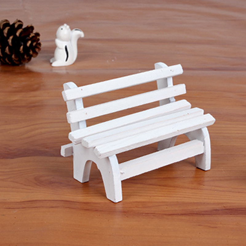 New Arrival Wooden Miniature Park Chair Garden Crafts Figurines White Park Benches Chair Mini Landscape Ornament Doll Furniture