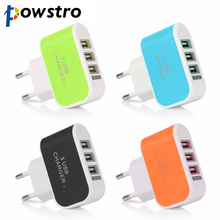 POWSTRO 3 USB Port Micro USB Charger Charging Adapter HUB EU US Plug For Samsung Charger For iPhone and All Smart Phone