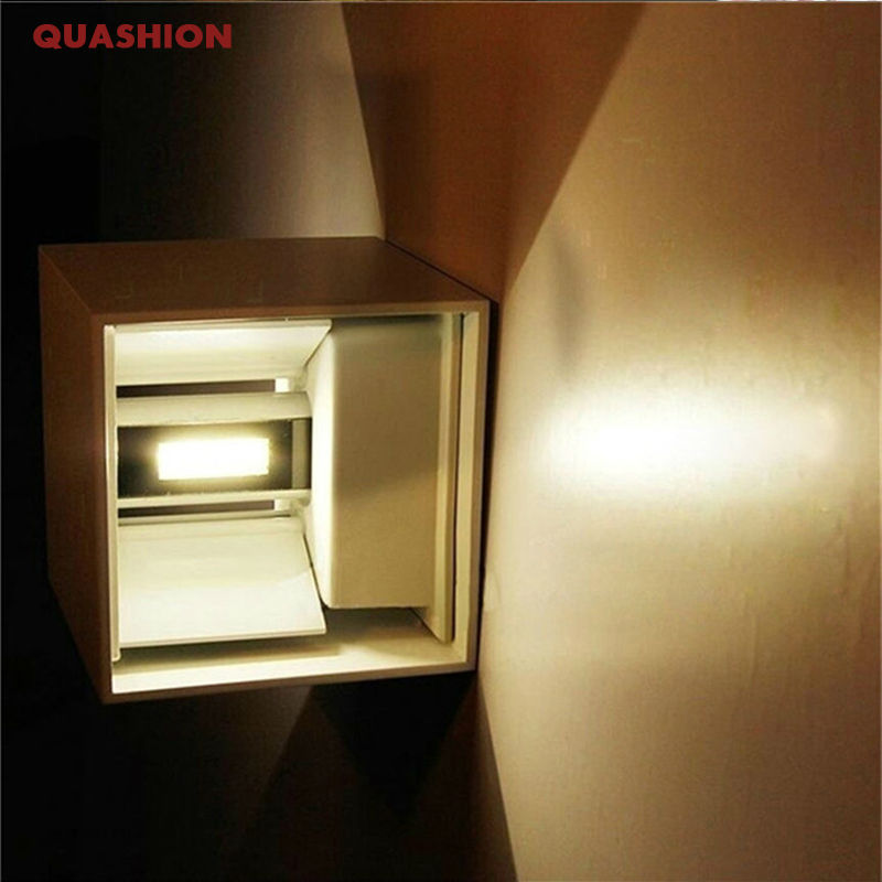 10W indoor outdoor Led Wall Lamp modern Aluminum Adjustable Surface Mounted Cube Led Garden Porch Light 10pcs lot 10w led indoor wall lamp surface mounted outdoor cube lamparas de pared white up and down wall light for home lamp