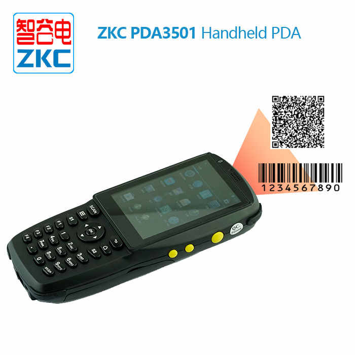 ZKC PDA3501 Industrial Handheld PDA barcode scanner Android sim card with  RFID Reader 3G wifi bluetooth NFC