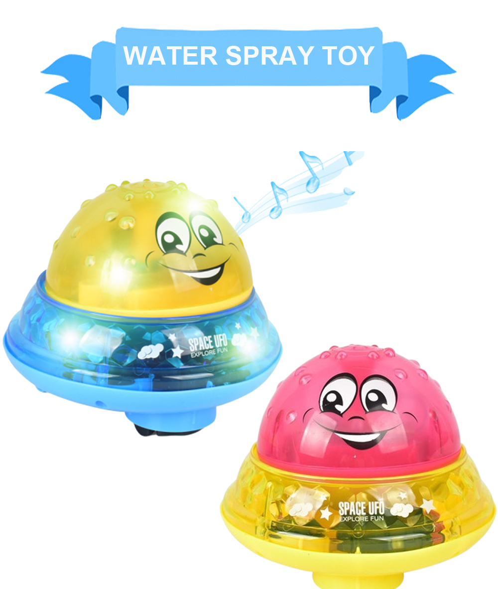 Nuxn Rotating Spray Water Bath Toy Kids LED Light Up Bathtub Ball Toy Electric Induction UFO Shape Bathing Water Sprinkler Play Toys with 2 Music and Flashing Lights
