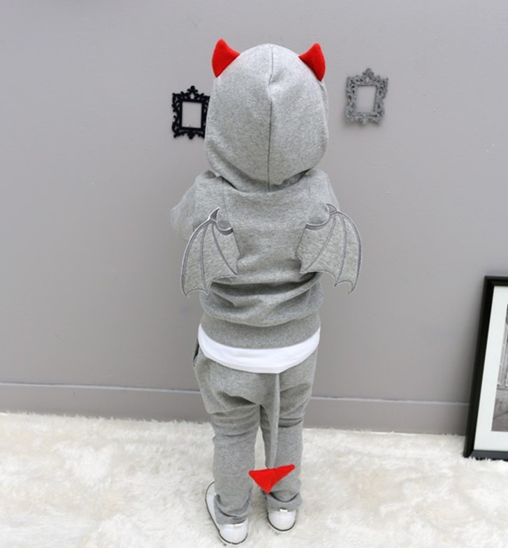 Children Spring Autumn clothes Devil wings sports suits boys solid cotton clothing sets long sleeves pullover hooded wear (4)
