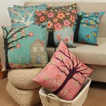 Funda de cojín 45cm x 45cm funda de almohada Vintage con diseño de árbol de flores decoración para el hogar o la oficina fundas para cojín para sofá