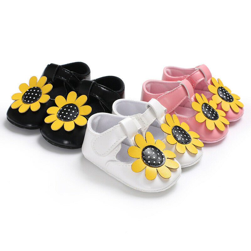 Baby Sandals Newborn Shoes Kids Booties Toddler Girls Crib Shoes Soft Sole Prewalkers PU Leather Booties Sunflower Girl Sandals