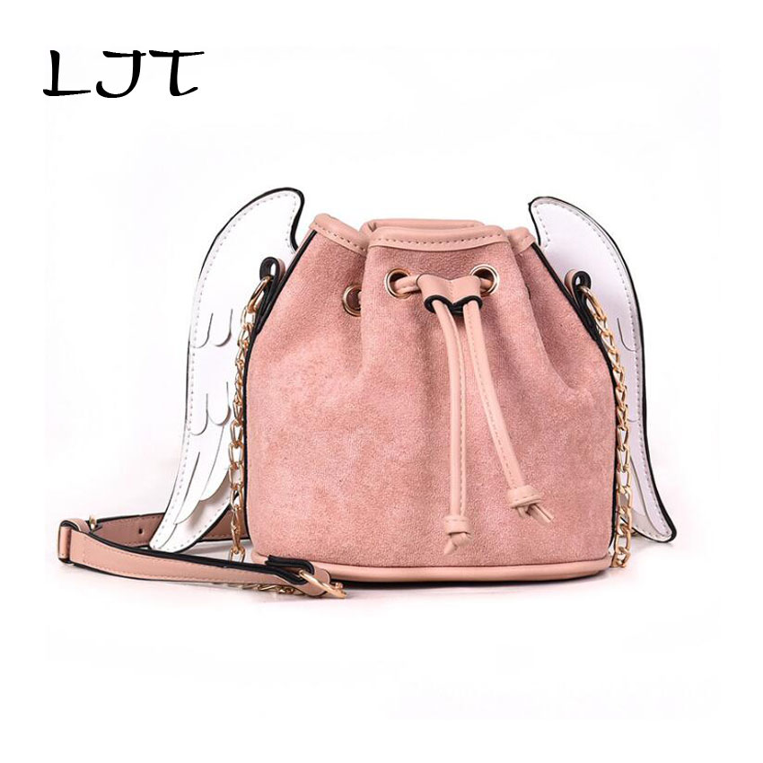 LJT 2019 Hot Sale Fashion Scrub PU Leather Handbags Ladies Personalized  Wings Bucket Bag Women Chain Mini Shoulder Messenger Bag-in Shoulder Bags  from ... 89be871d605ac