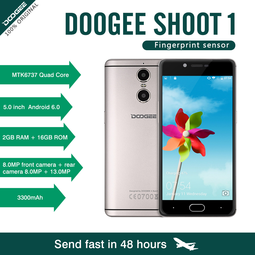 Doogee Shoot 1 Android 6.0 4G Phone 5.5 inch MTK6737 Quad Core 2GB+16GB Dual Rear Cameras 8.0MP + 13.0MP OTG Fingerprint Phone