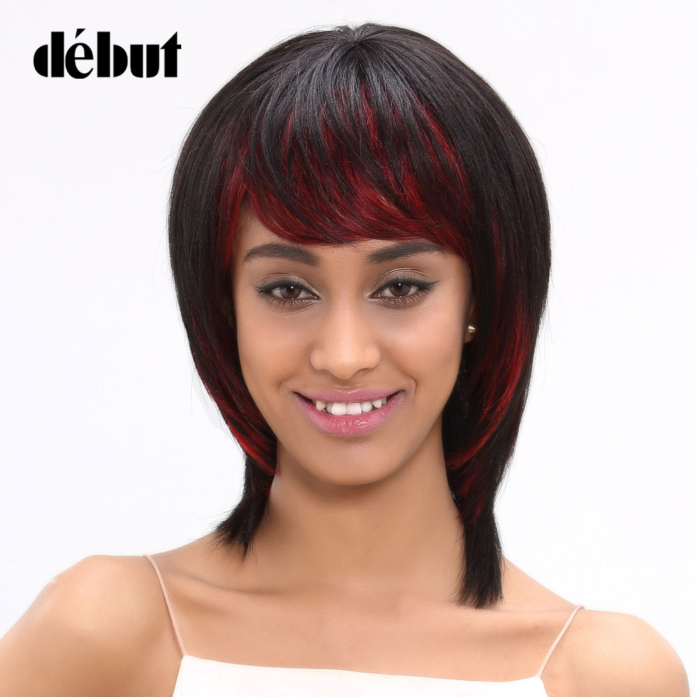 Debut Hair Brazilian Straight Remy Hair Short Bob Wigs Human Hair Wigs For Women Color HL1b/Red Free Shipping
