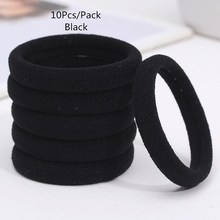New 10Pcs Pack Black Mix Color Hair Holders Elastic Hair Bands Ponytail Rubber Rope Bands Women Girls Hair Accessory Scrunchie cheap Headwear Nylon Spandex Rubber Children Liva girl Fashion CC3326 Solid