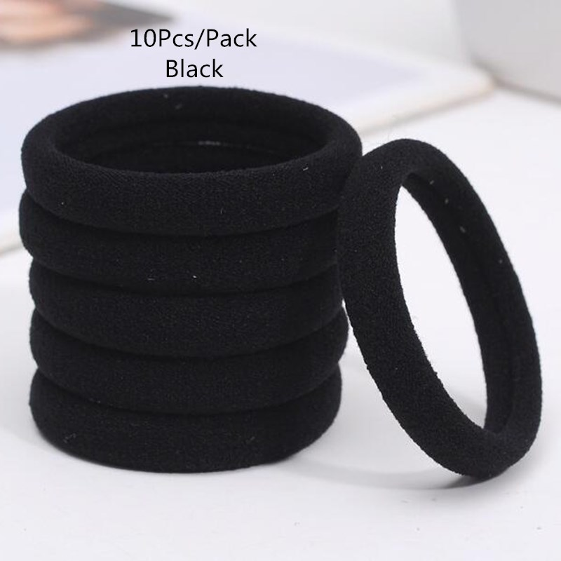 New 10Pcs/Pack Black Mix Color Hair Holders Elastic Hair Bands Ponytail Rubber Rope Bands Women Girls Hair Accessory Scrunchie new 10pcs women lady hair band velvet elastic ponytail tie bow rubber bobbles lovely
