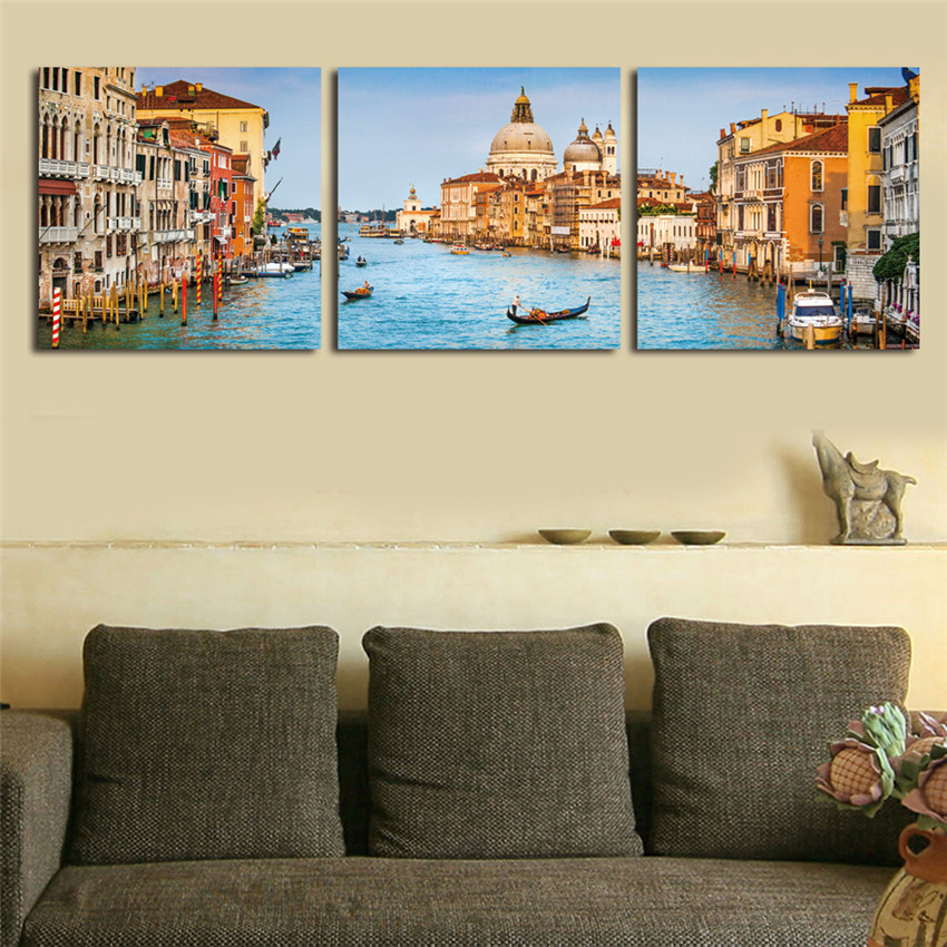 Framed Water City Wall Pictures For Living Room Modern ...