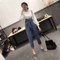 Summer Belted Overalls 2017 New Korean Adjustable Strap Cowboy Pants Female Summer Trousers Fashion Denim Rompers