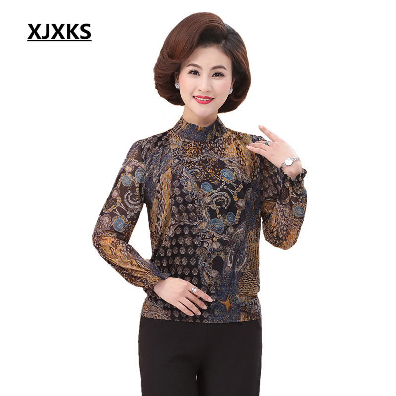 XJXKS Center Aged Elegant Ladies's Spring Print Shirt Feminine Unfastened Informal Shirts Lengthy-sleeve Half Turtleneck Clothes Tops 108 printed shirt, girls spring, elegant girls,Low-cost printed shirt,Excessive High quality girls...