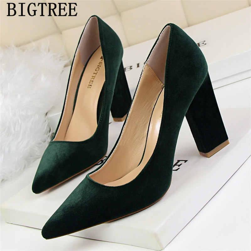 bb519304014 thick heel elegant shoes women pumps fetish high heels bigtree shoes black  heels green shoes for
