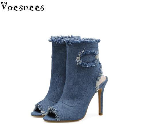 2007 New Women Shoes Boots Female Spring and Autumn Denim High Heels 11cm Canvas Shoes thin Heels Zip Solid Color  Lady's Boots e toy word canvas shoes women han edition 2017 spring cowboy increased thick soles casual shoes female side zip jeans blue 35 40