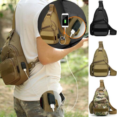 Men Anti-theft USB Charging Chest Bag Sling Sport Travel Crossbody Shoulder Bag Fanny Bag For Women Men Printing Belt Bag