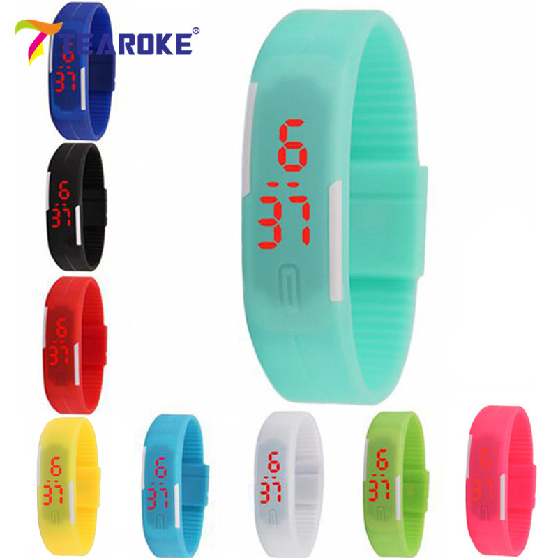 TEAROKE Kids Women Men LED Bracelet Silicone Date Digital Outdoor Sport Clock Watch Wristwatch Toy Birthday Gift for Boy Girls fashion snake shape boy girl children watch sport led digital wristwatch for women men black rubber running ladies watch kids
