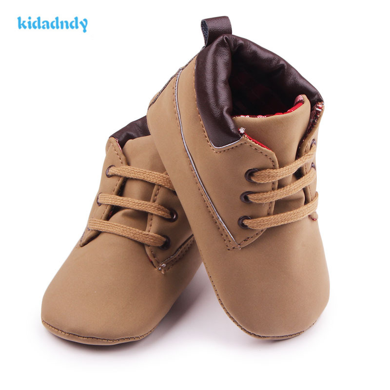 kidadndy 2017 Spring Baby Shose Boys New 0-1 year old First Walkers Male Soft Bottom School Shoes Brown Retro YD149