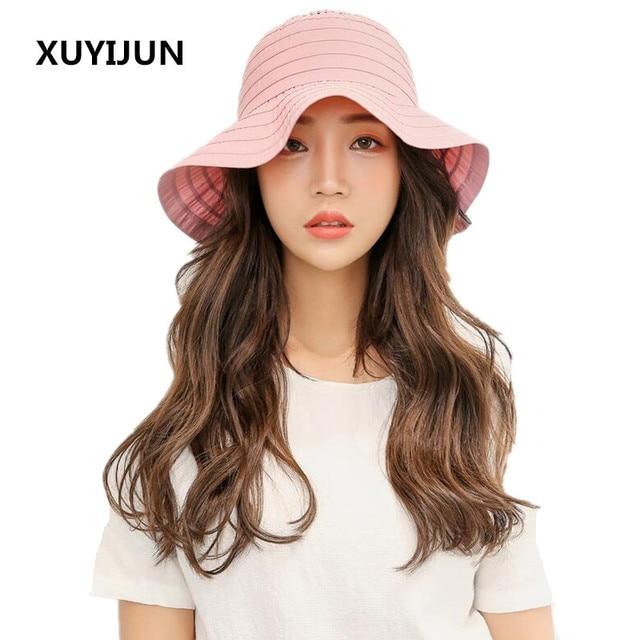 0948796f XUYIJUN New Summer Hats for Women Foldable Beach Floppy Sun Hat Female Caps  Wide Brim Panama Ladies Headwear