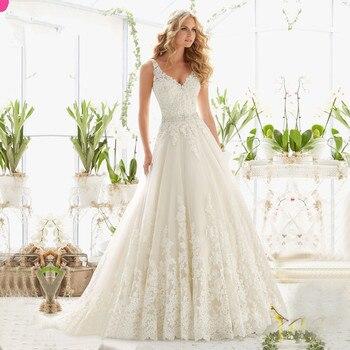 Vestido De Noiva New Design A-Line Lace Wedding Dresses 2017 V-Neck Beaded Sash Backless Sexy Vintage Wedding Gowns