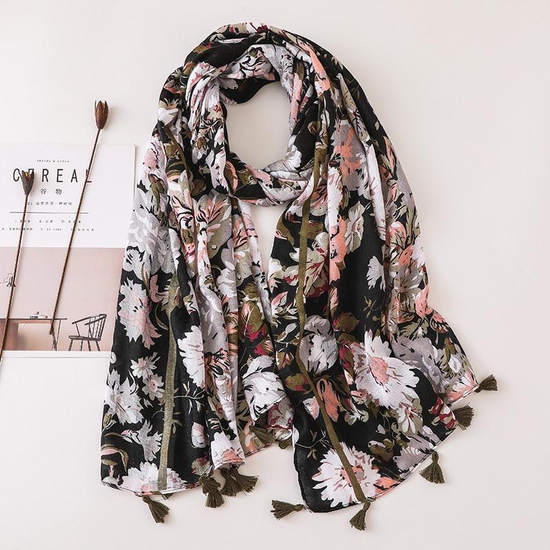 Women Fashion Daisy Floral Cotton Viscose Scarf Lady Tassel Shawls And Wraps Pashmina Bandana Female Muslim Hijab Sjaal 180*90Cm