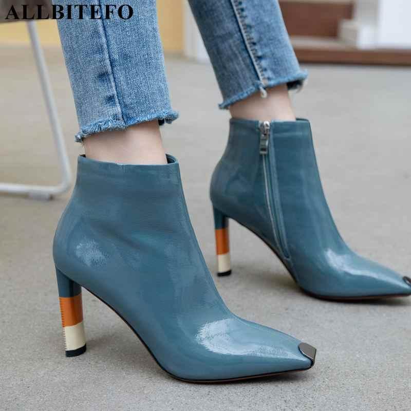ALLBITEFO boyutu: 36-43 seksi yüksek topuklu kadın çizmeler yüksek kaliteli metal ayak kadın ayak bileği çizmeler yüksek topuklu kadın ayakkabıları martin çizmeler