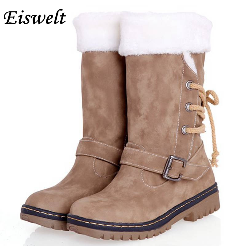 ФОТО Women Winter Snow Boots Buckle thick Heels black Mid-Calf Waterproof Full Fur Boots Female Boots Women Shoes#HL95