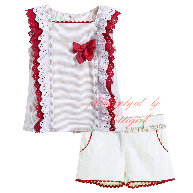 c74731a99bcb7 Pettigirl Girl Clothing Set Beige Top with Shorts Pants Kids Suits Solid  Girls Summer Red Bow Clothes Set Boutique G CMCS906 523-in Clothing Sets  from ...