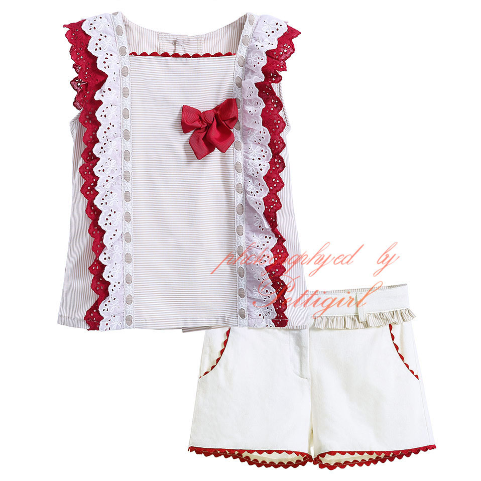 Buy Pettigirl Girl Clothing Set Beige Top with Shorts Pants Kids Suits Solid Girls Summer Red Bow Clothes Set Boutique G-CMCS906-523