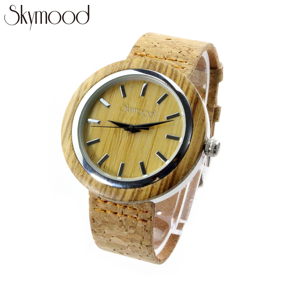 Skymood Bamboo Designer Watches Women High Quality Birthday Gifts Cork Strap 3ATM Water proof eyki h5018 high quality leak proof bottle w filter strap gray 400ml