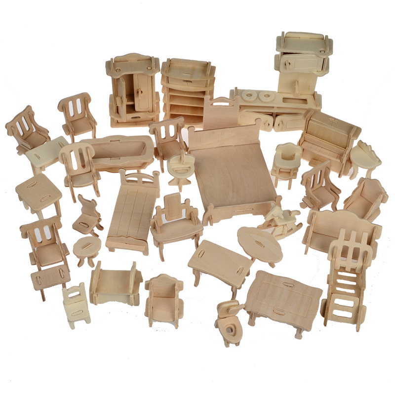 Have An Inquiring Mind 34 Pcs /set,3d Wooden Doll House Dollhouse Furnitures Jigsaw Puzzle Scale Miniature Models Diy Accessories Set Toys Street Price