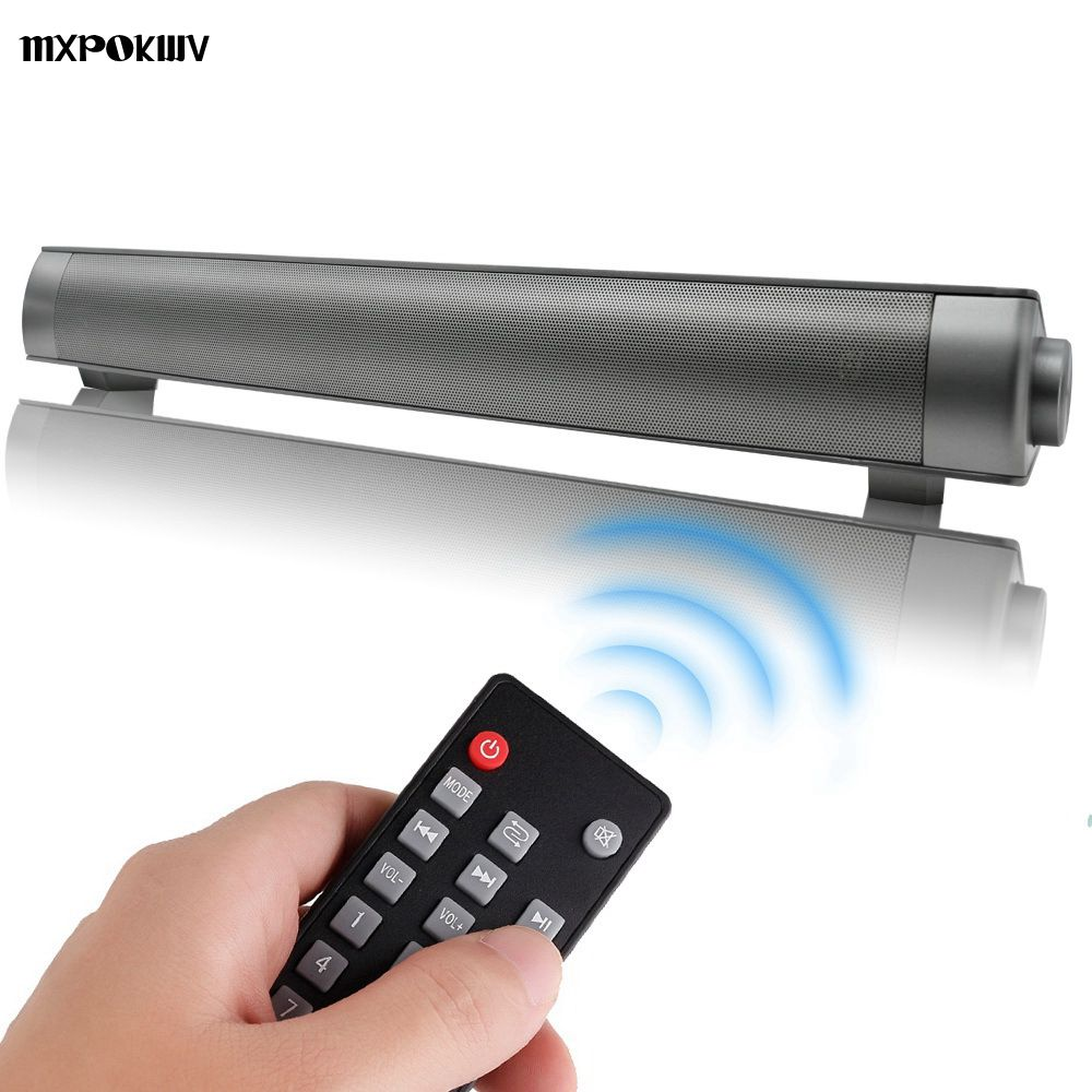 MXPOKWV Wireless Bluetooth Subwoofer Mini MP3 TF Card Speaker Louderspeaker Stereo Super Bass 2X5W Sound Bar TV Remote Control